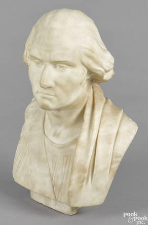 Carved marble bust of George Washington late 18th c