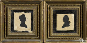 Pair of Peales Museum hollowcut silhouettes of George and Martha Washington ca 1800
