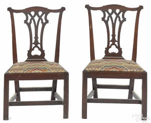Pair of Pennsylvania Chippendale walnut dining chairs ca 1775