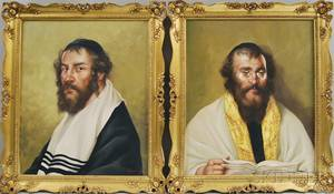 Two Framed Oil on Canvas Portraits of Rabbis