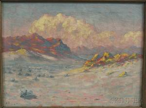 Frank William Chapman American 19th20th Century Mountains at Sunset