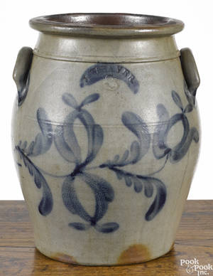 Beaver Pennsylvania threegallon stoneware crock 19th c