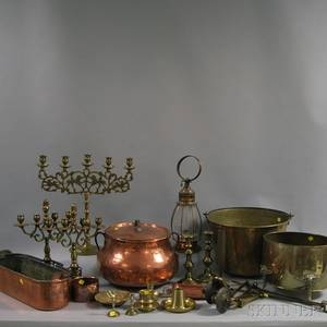 Group of Brass and Copper Lighting and Cooking Items