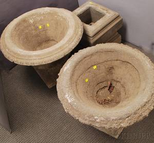 Pair of Large Concrete Urns