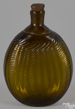 American blown oliveamber glass pitkin type flask ca 1820