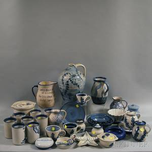 Thirtyfour Pieces of Blue and White Dorchester Pottery Tableware