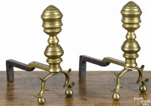 Pair of miniature American Federal brass andirons ca 1820