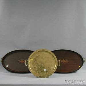 Two Mahogany Serving Trays and a Hammered Brass Serving Tray
