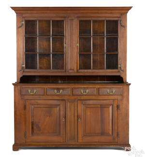 Pennsylvania walnut twopart wall cupboard ca 1800