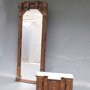Large Renaissance Revival Carved Walnut and Parcelgilt Pier Mirror