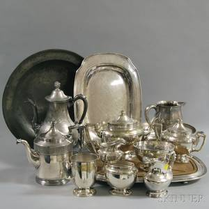 Group of Silverplate Items and a Pewter Deep Dish