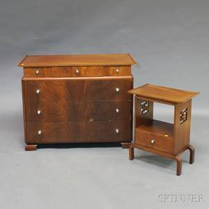 Art Decostyle Mahogany Veneer Chest of Drawers and Side Table
