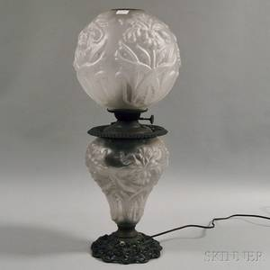 Victorian Frosted Glass Kerosene Lamp