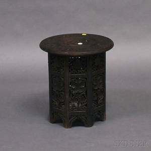 Pierced and Foliatecarved Rosewood Tabouret