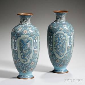 Pair of Blue Cloisonne Vases