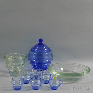 Italian Art Glass Vase and Center Bowl and Czechoslovakian Art Glass Punch Bowl and a Green Glass Vase
