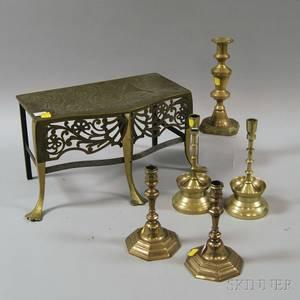 Five Brass Candlesticks and a Brass Footman