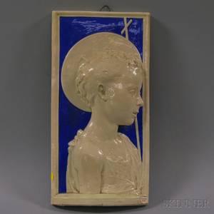 Della Robbia Ceramic Wall Plaque Depicting a Religious Figure