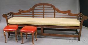 Hardwood Slatback Bench and a Pair of Louis XVstyle Walnut Ottomans