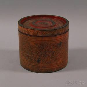 Burmese Red and Black Lacquer Cylindrical Banded Box