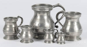 Six English pewter measures