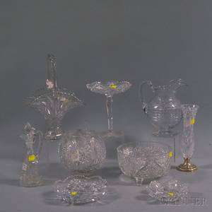 Nine Assorted Colorless Cut Glass Items
