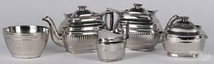 Silver resist fivepiece tea service