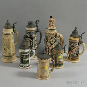 Seven Ceramic German Steins