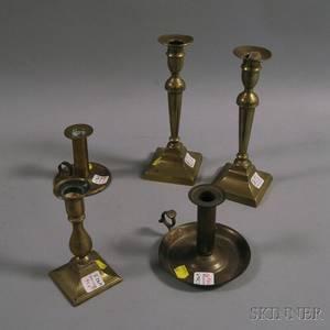 Five Brass Candlesticks and Chambersticks