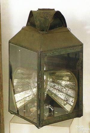 Tin and glass lantern 19th c