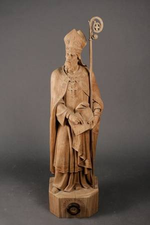 French 19th Century Carved Wood Saint Reliquary