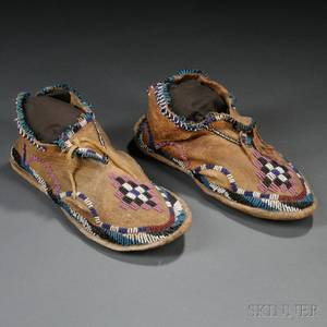 Pair of Apache Beaded Hide Youths Moccasins