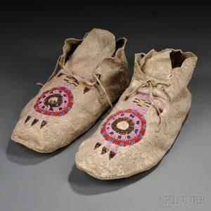 Pair of Cheyenne Beaded Hide Keyhole Moccasins