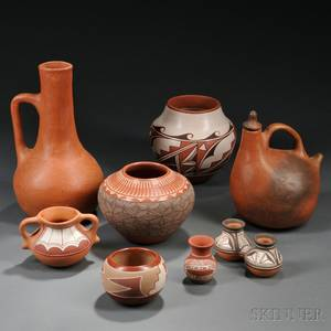 Eight Pieces of Contemporary Southwest Pottery