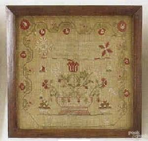 Pennsylvania wool on linen needlework sampler dated
