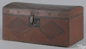 Painted poplar dome lid box dated