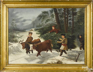 American oil on canvas winter landscape 19th c