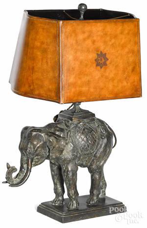 Maitland Smith bronze elephant table lamp