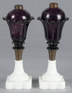 Pair of amethyst and clambroth fluid lamps