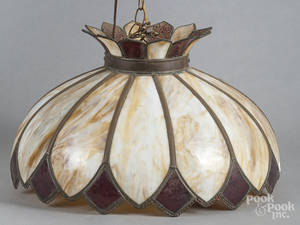 Slag glass chandelier