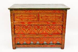 Tibetan Red Lacquered  Gilt Accented Altar Table