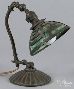 Patinated bronze piano lamp
