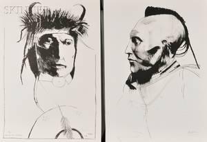 Leonard Baskin American 19222000 Two Native American Portraits Chief Wets It Assinnboine