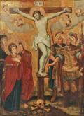 Polish School 18th19th Century Altarpiece Depicting the Crucifixion