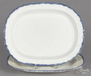 Two Leeds blue feather edge platters