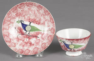 Red spatter peafowl cup and saucer
