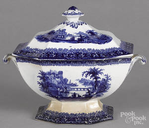 Blue Staffordshire covered tureen
