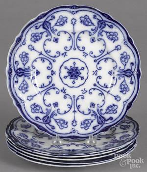 Six flow blue plates