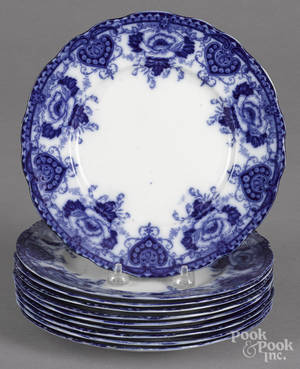 Ten flow blue Muriel plates