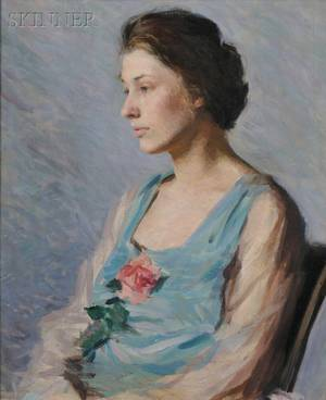 Kathryn Nason American 18921976 Halflength Portrait of a Seated Woman Holding a Rose